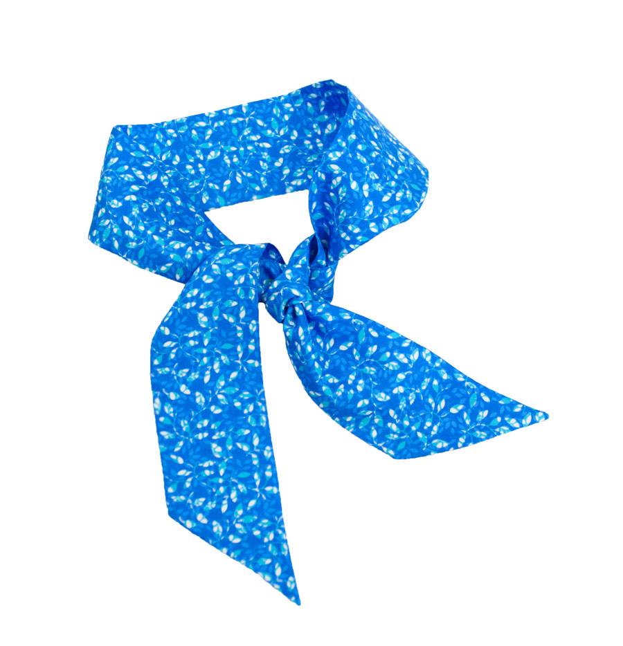Silk ribbon with light blue flower design