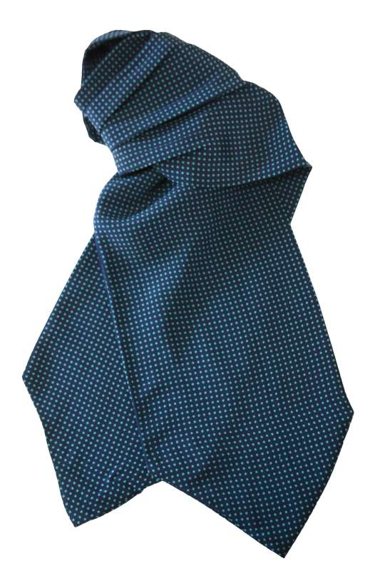 Navy ascot with green polka dots