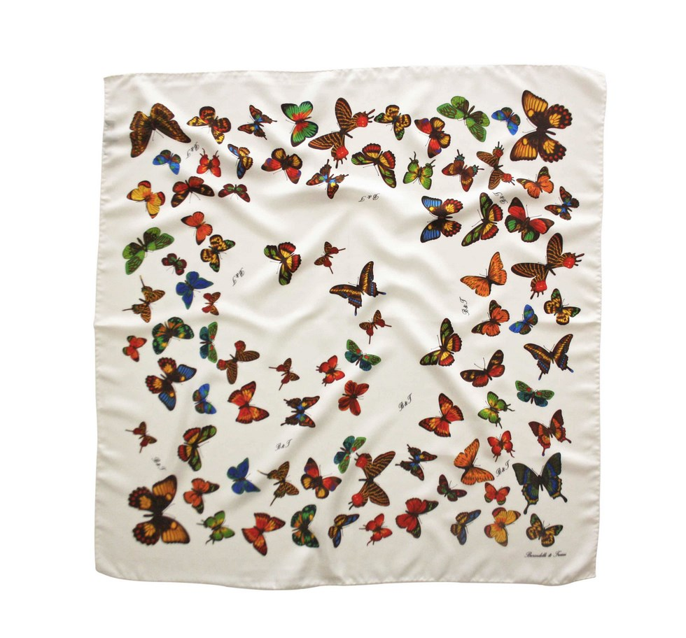 White scarf with butterflies