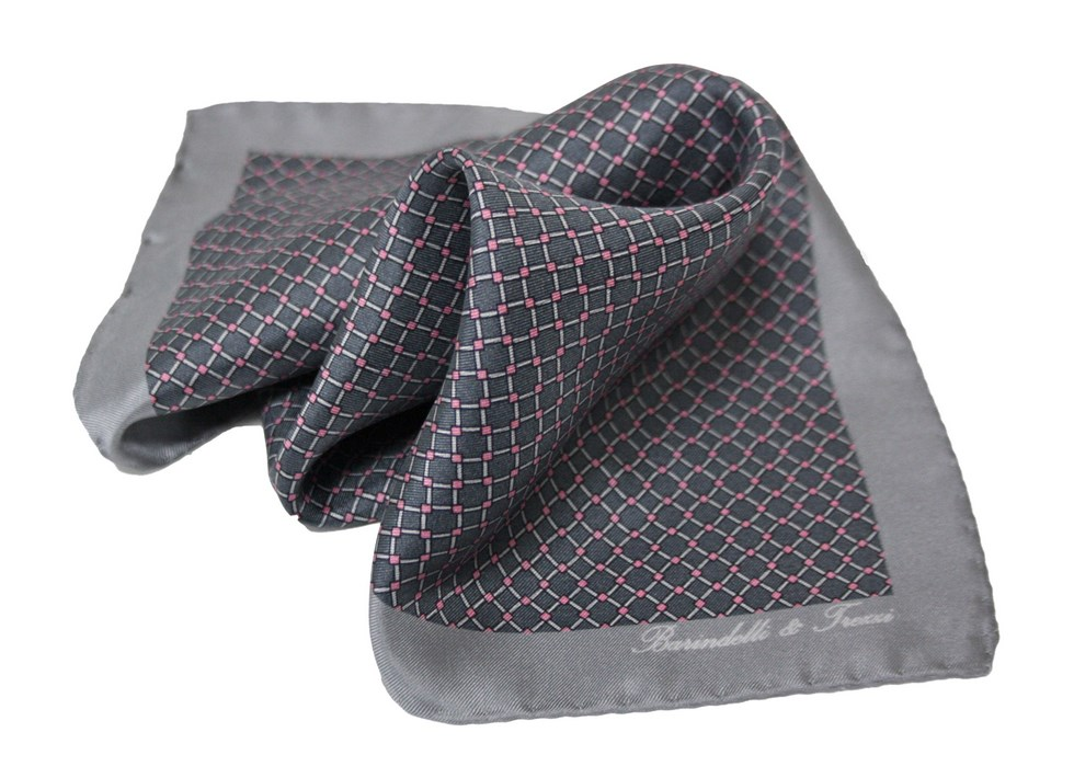 Geometric patterned handkerchief, gray and pink