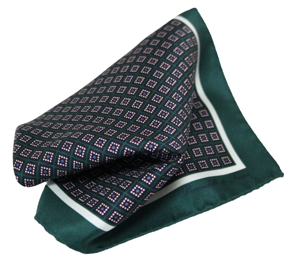 Silk handkerchief with checked geometric pattern, blue and green
