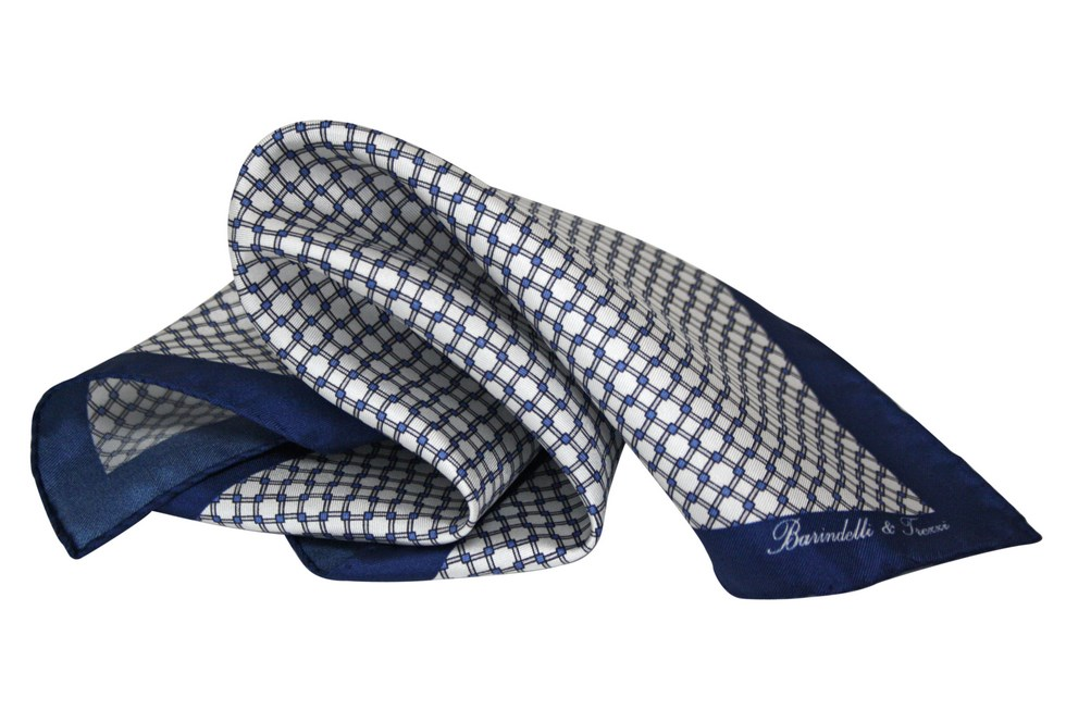 White and blue checked geometric handkerchief