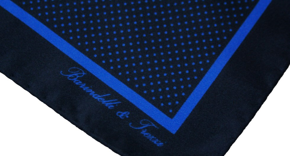 Classic silk pocket handkerchief with blue and navy blue polka d