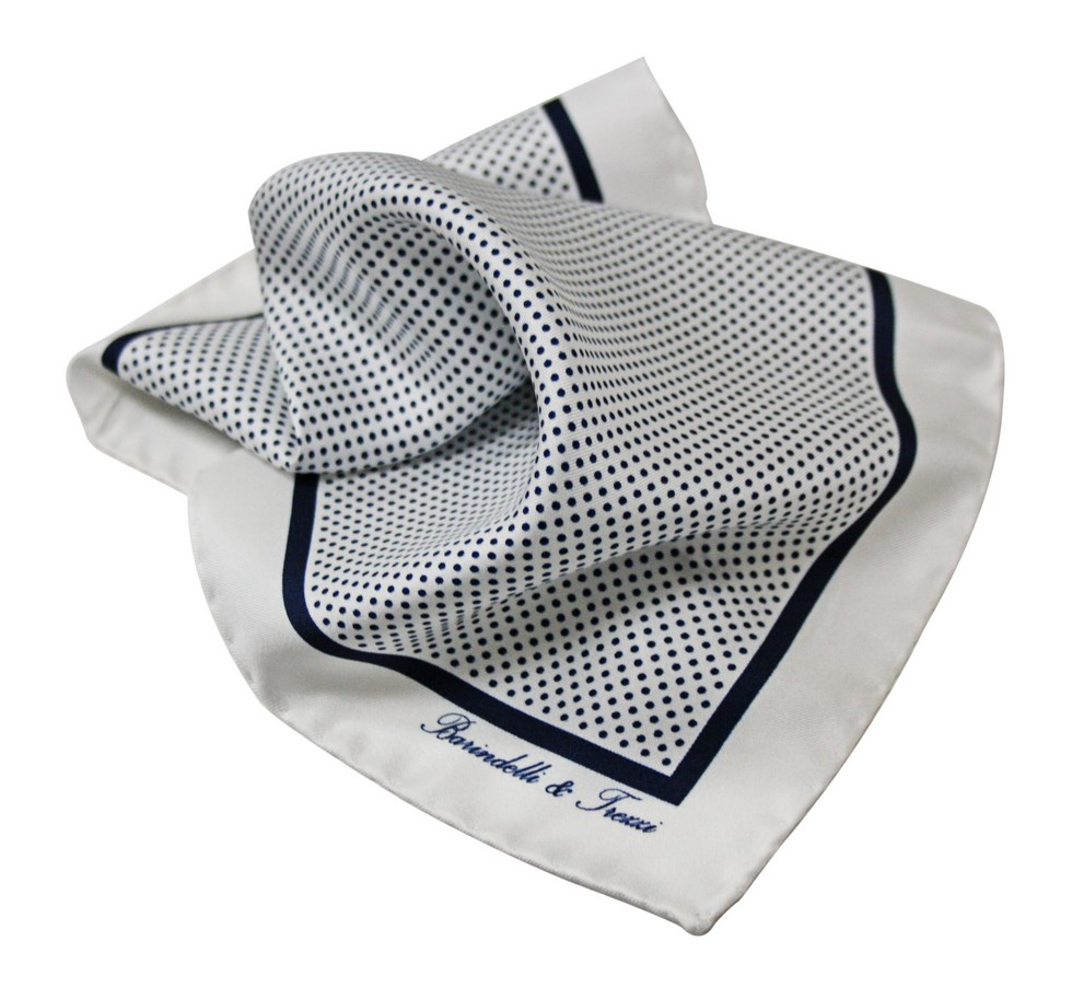 Classic silk handkerchief with blue polka dot print on a white b