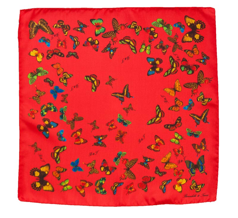 Red woman silk handkerchief - drawing butterflies