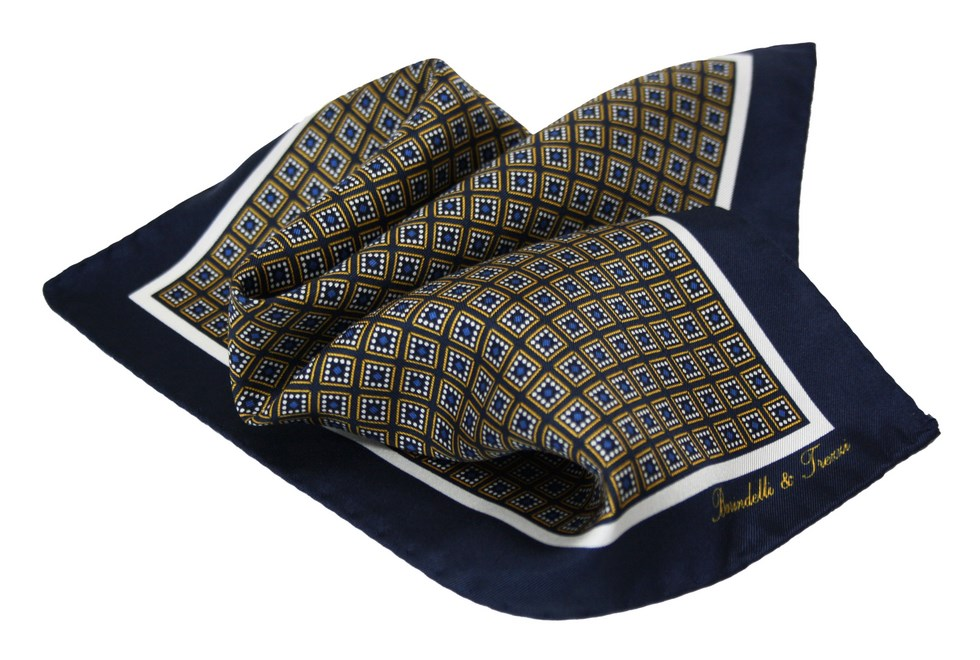 Silk handkerchief with blue and yellow checked geometric pattern