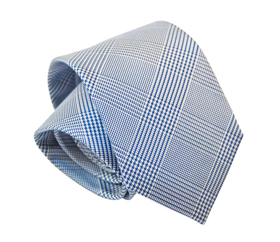 Tie with Prince of Wales pattern - Blue