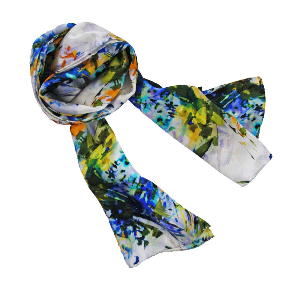 Silk scarf patterned woman bouquet of autumn flowers