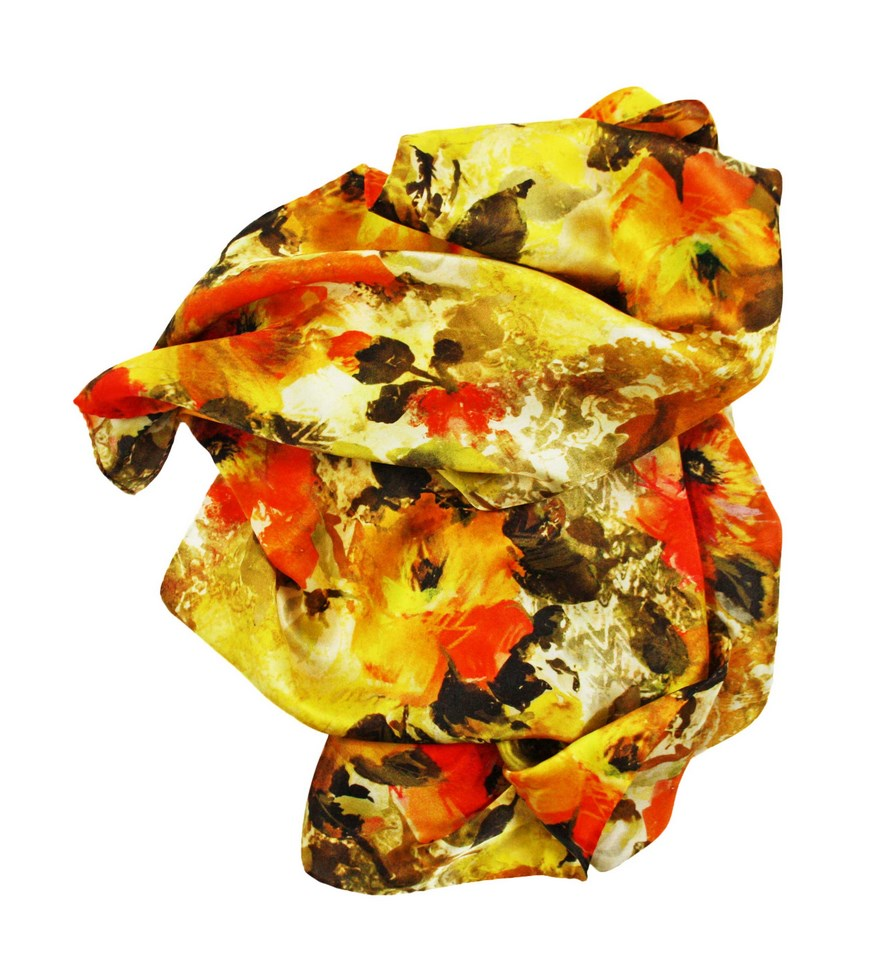 Silk scarf for women with fancy camellias summer