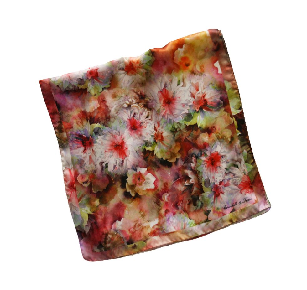 Woman silk scarf in flowers design - white and red flowers