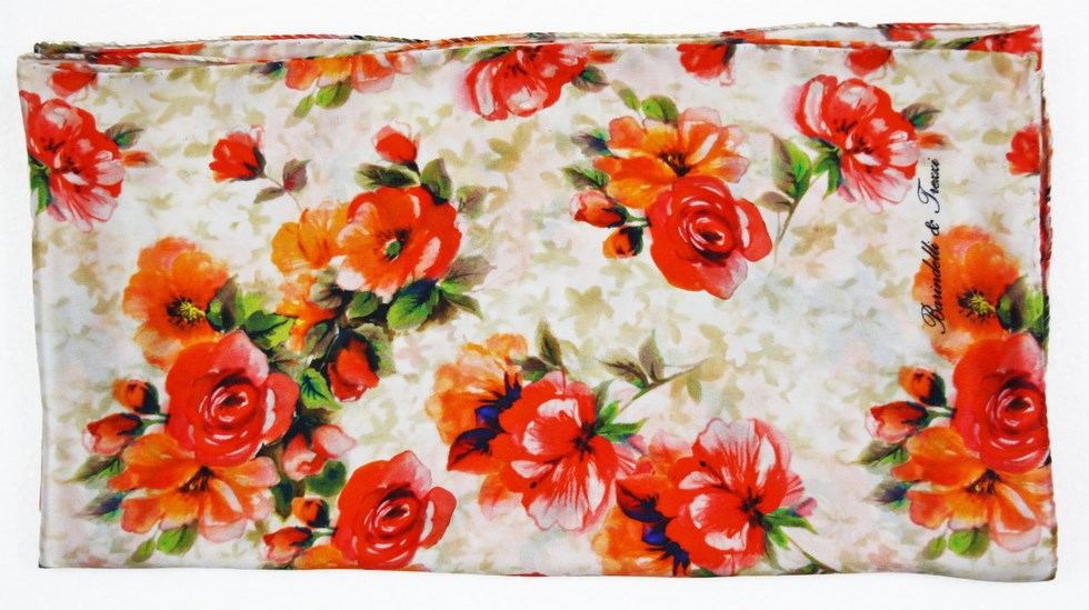 Woman silk scarf, orange roses