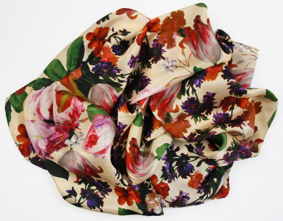 Floral silk scarf woman - Tulips