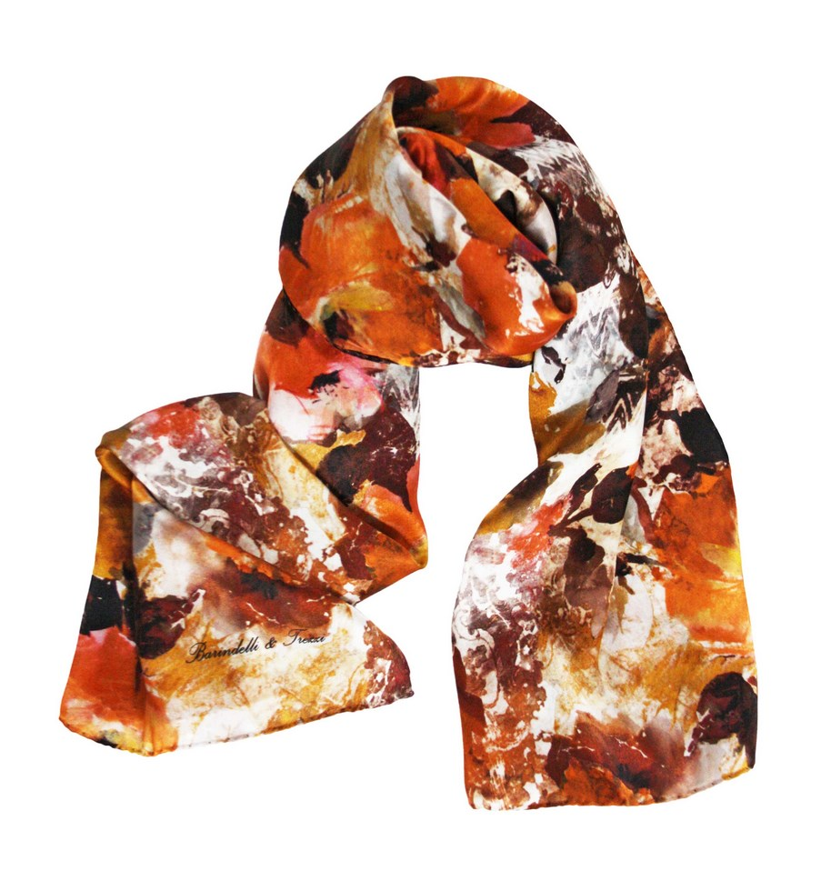 Silk scarf for women with fancy camellias autumn