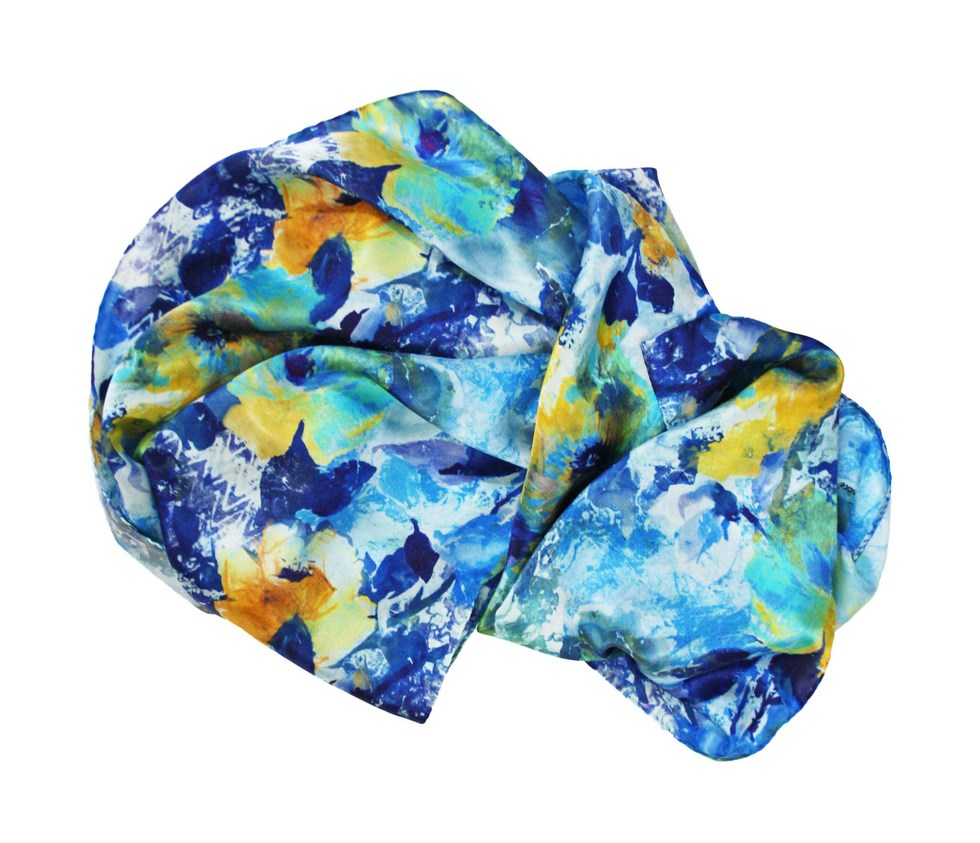 Women's silk scarf with winter camellia pattern