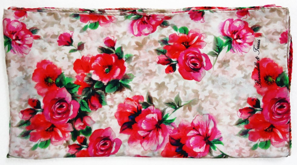 Silk scarf woman fantasy pink roses
