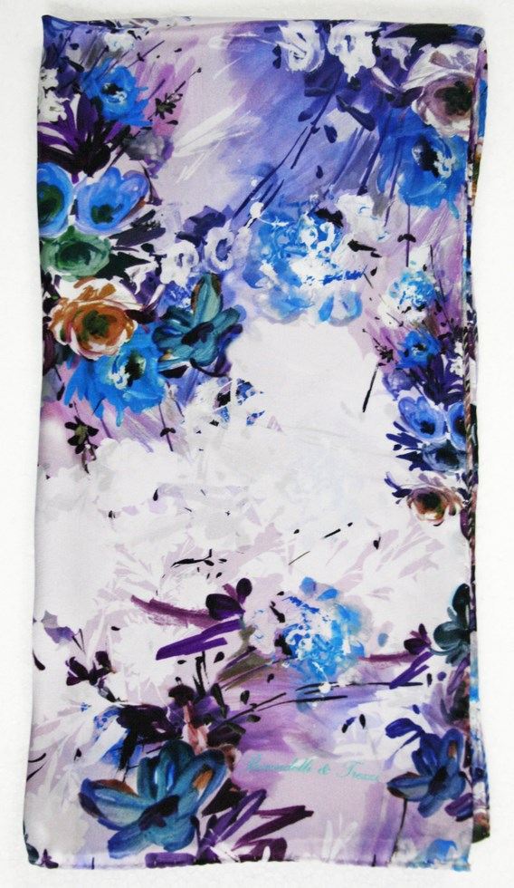Silk scarf woman floral brushstrokes of September