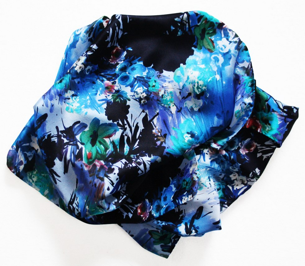 Floral silk scarf woman strokes