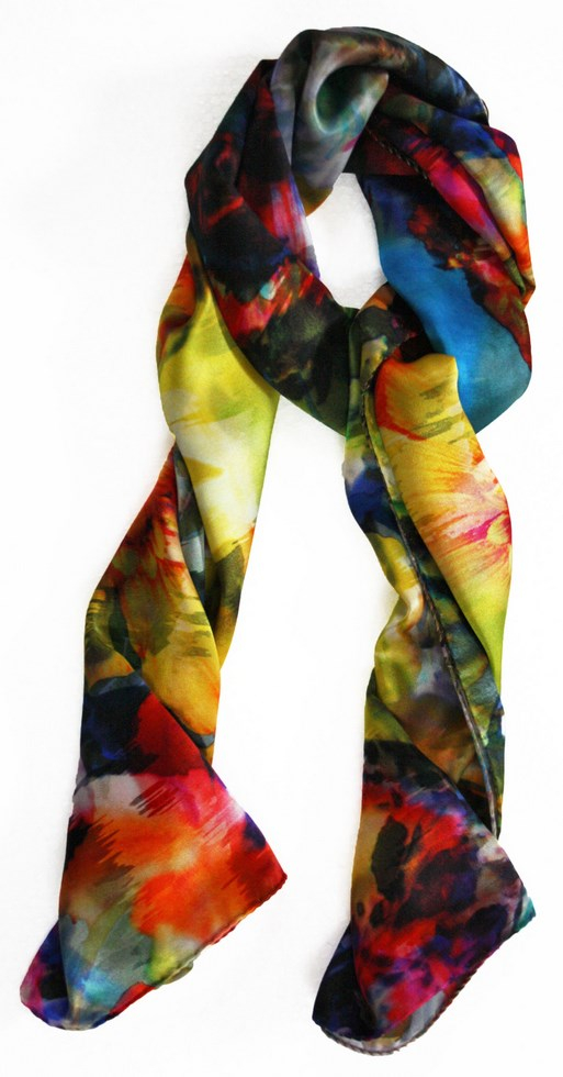 Woman silk scarf patterned yellow Nature