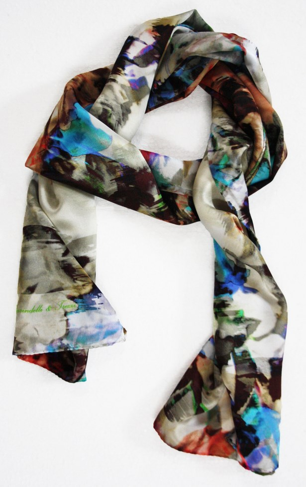 Woman silk scarf patterned Nature White