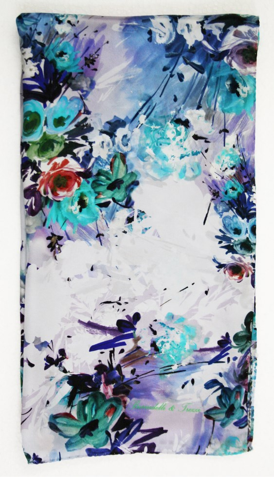 Floral silk scarf woman strokes of September