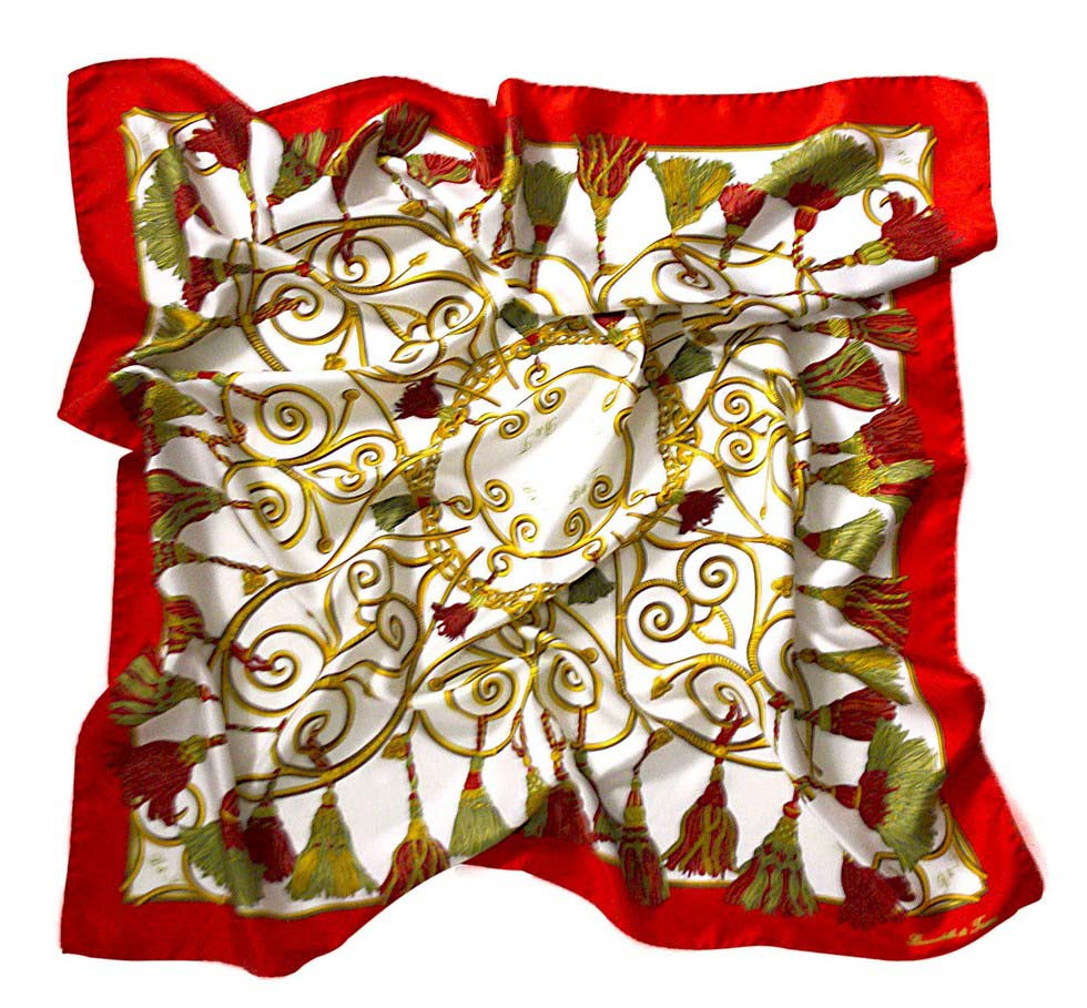 foulard embrasse - red and green
