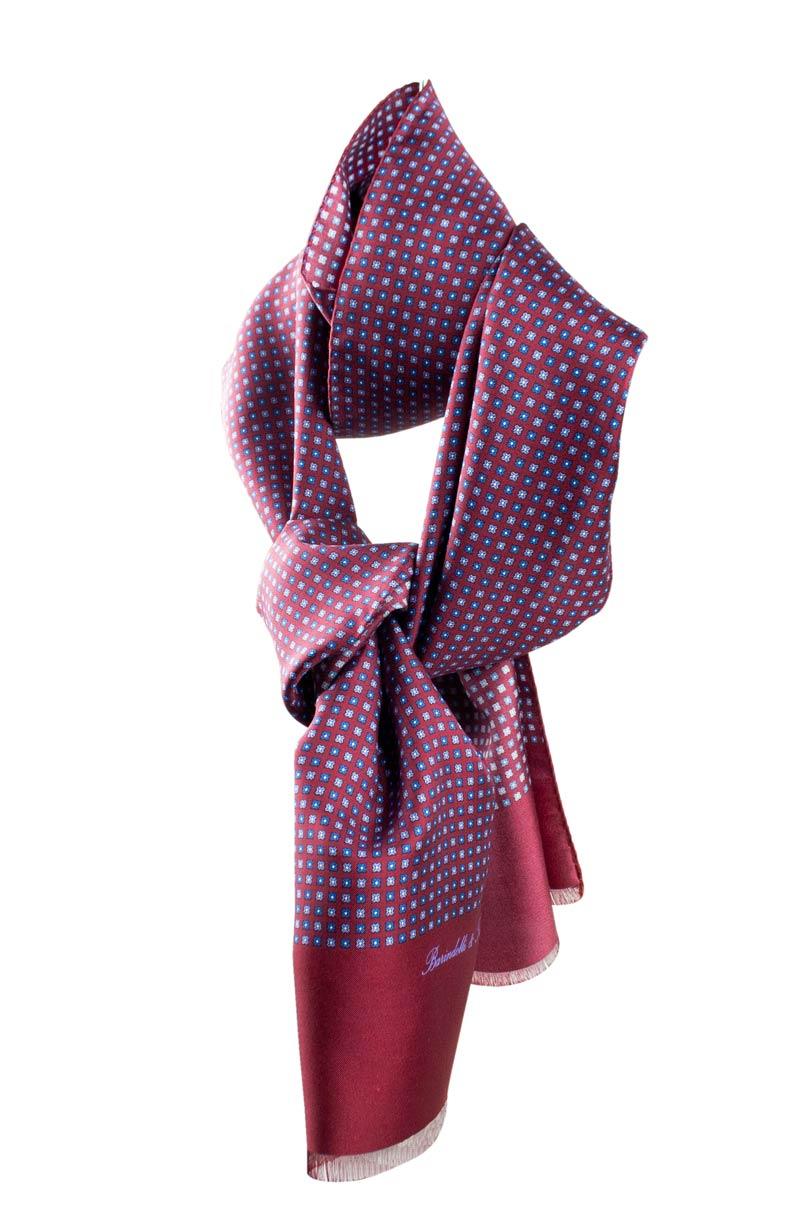 Burgundy geometric pattern neck scarf for men