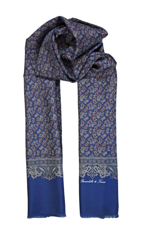 Men's silk scarf - blue cashmere pattern