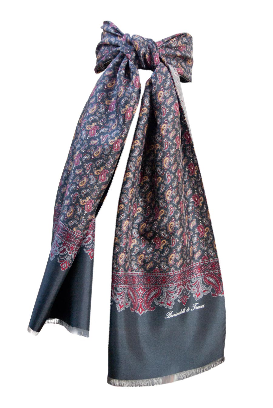 Man silk scarf - fantasy cashmere gray background