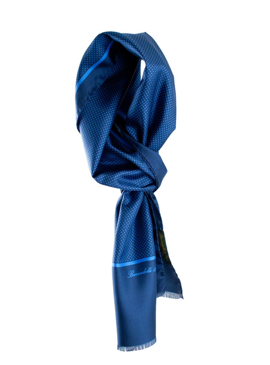 Polka dot men's scarf in 100% dark blue silk and blue polka dots
