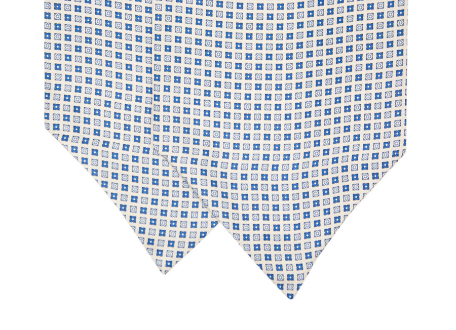 Silk ascot with blue and white geometric design