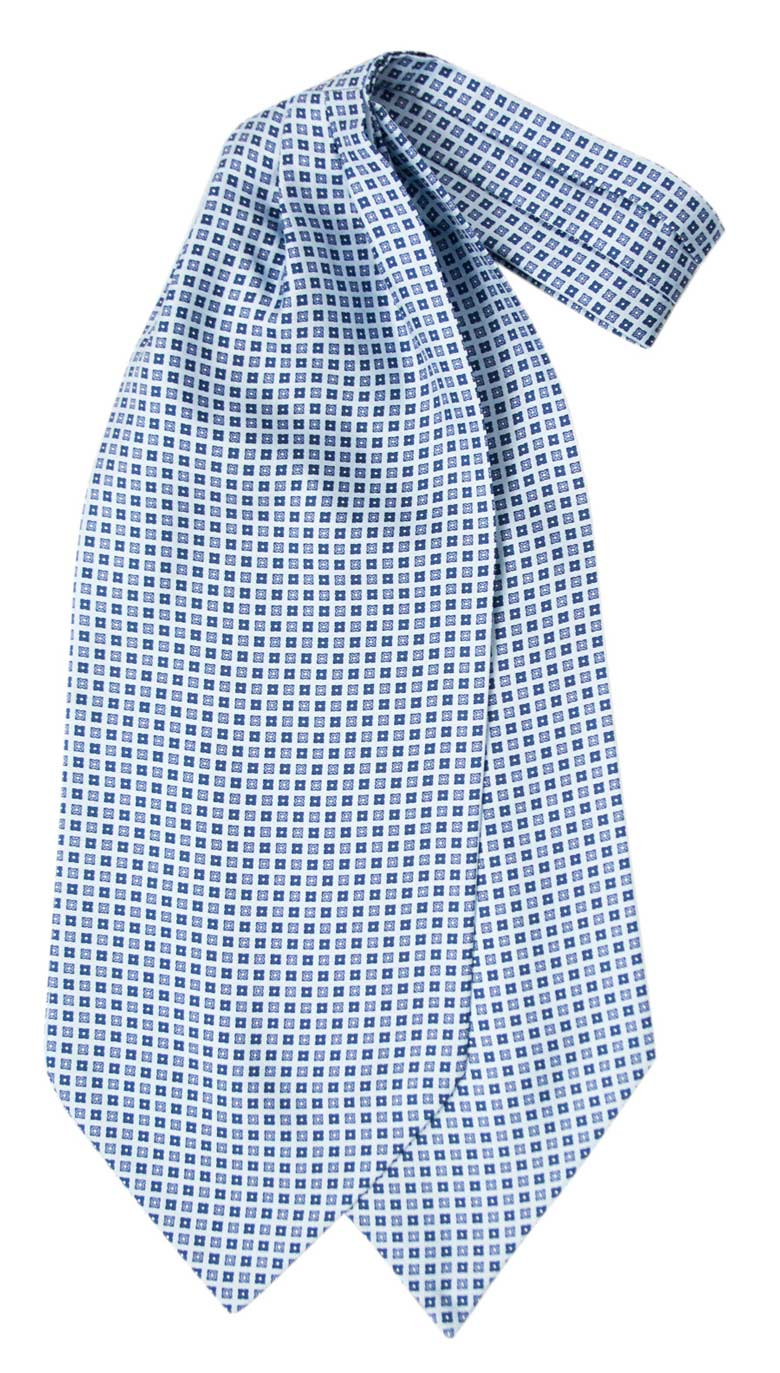 Silk ascot with blue geometric design on a light blue background