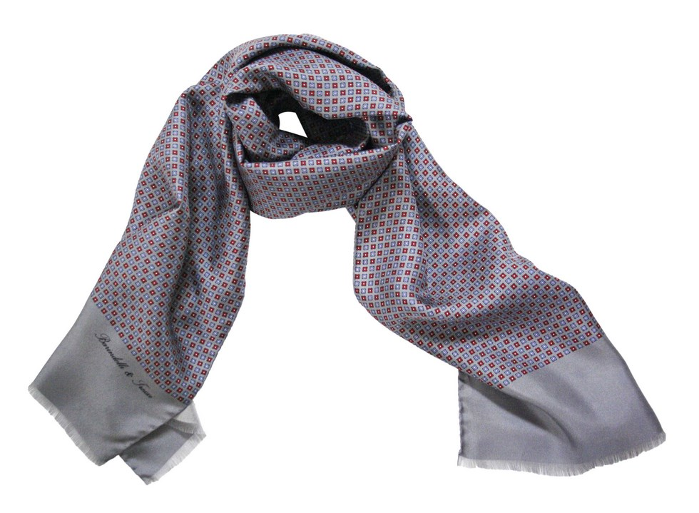 Silk scarf man in fancy geometric S.AM05