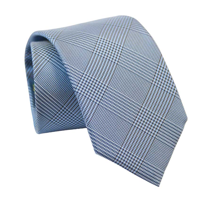 Prince of Wales patterned tie - Winter blue