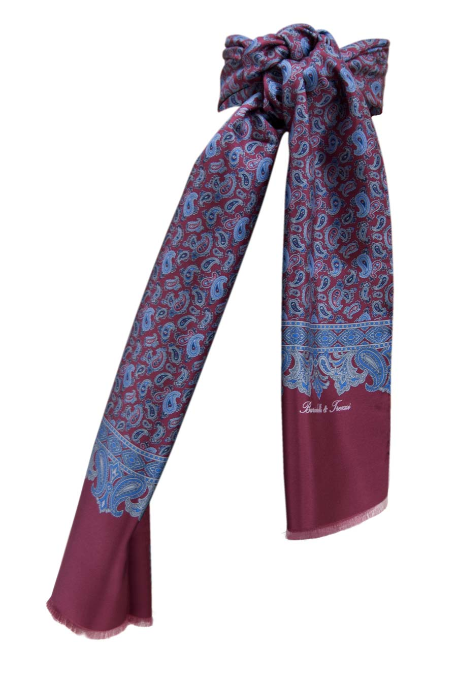 Men's silk scarf - Bordeaux cashmere fantasy