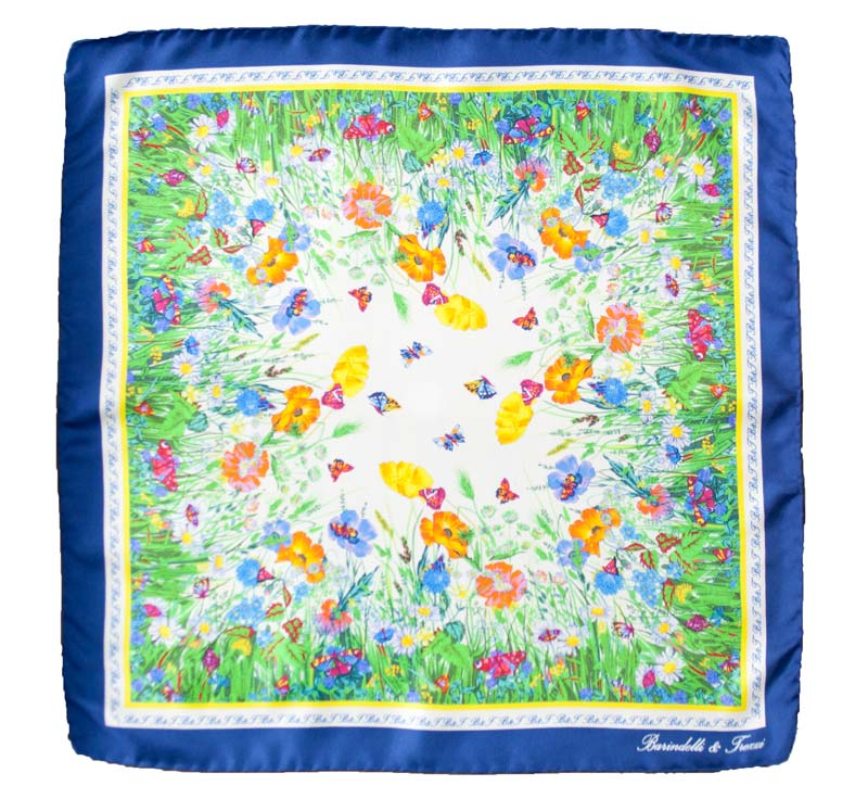 Silk woman handkerchief - fantasy wild flowers - navy blue