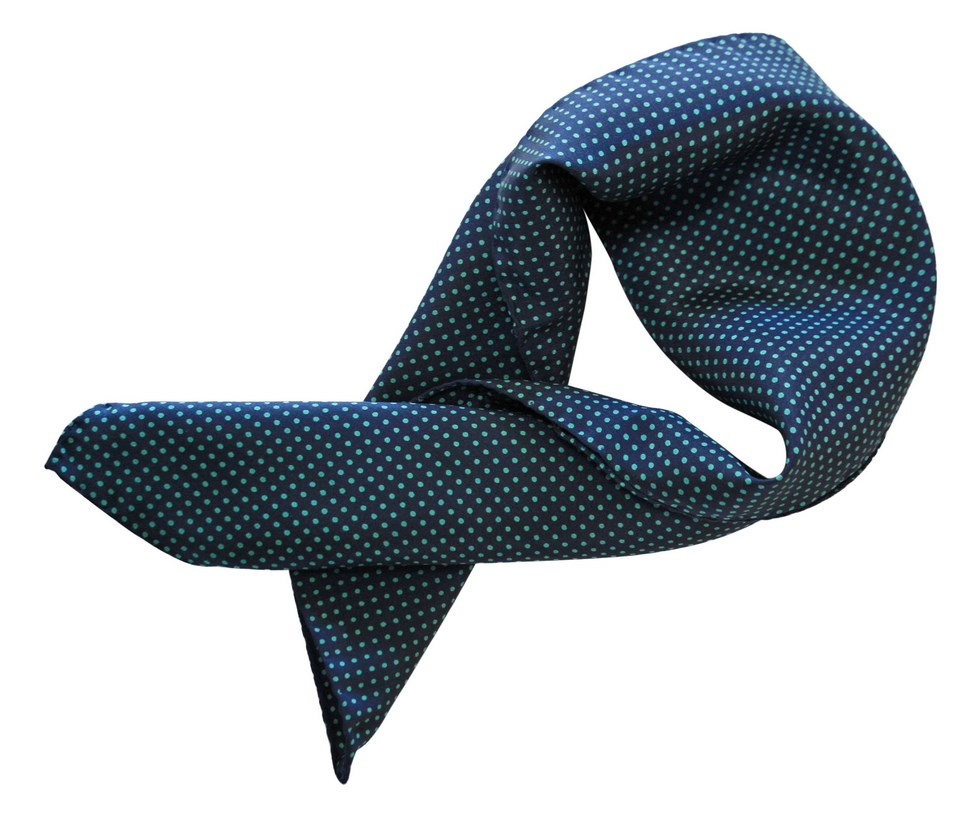 Silk scarf with blue polka dots green