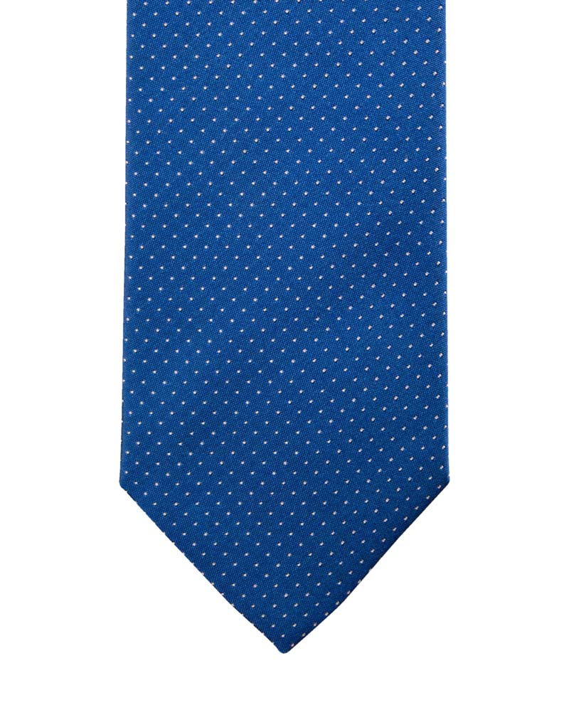 Blue ceremonial tie with pale pink spiked polka dot