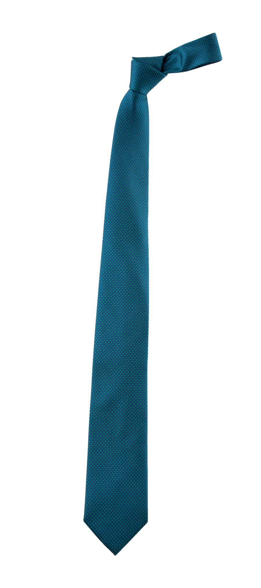 Blue ceremony tie with green polka dots