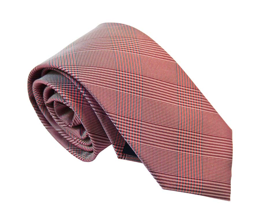 Prince of Wales patterned tie - Winter Red