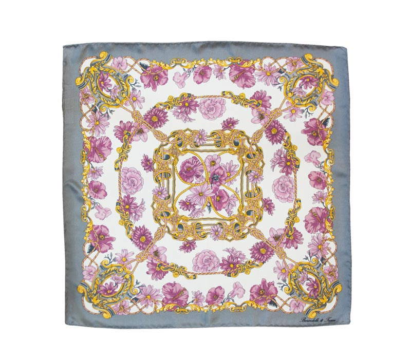 Silk handkerchief with floral design and gray border