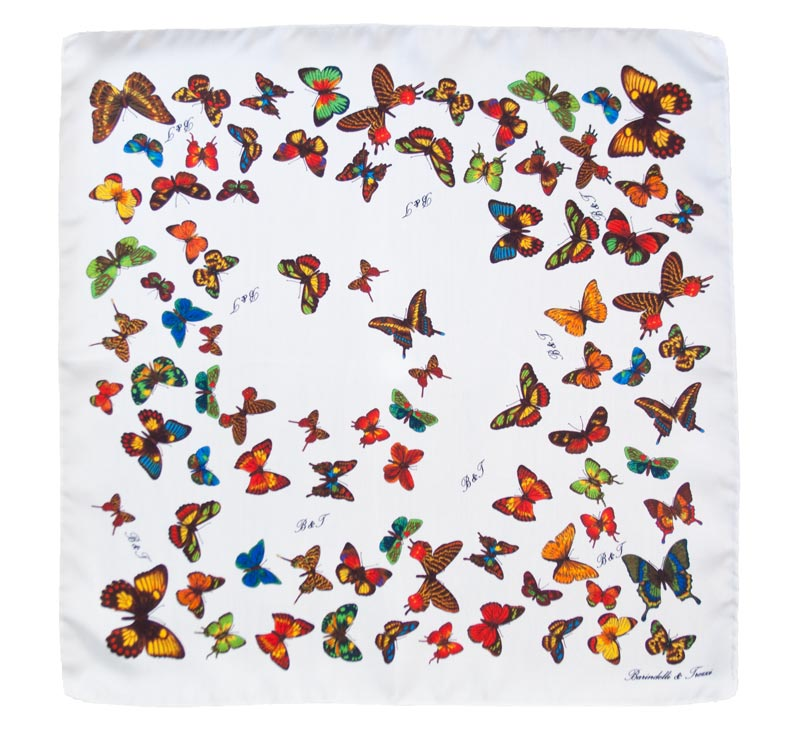 Woman white silk handkerchief - drawing butterflies