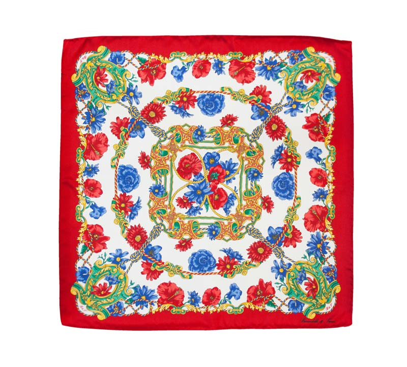 Handkerchief made from flower neck silk with a red border