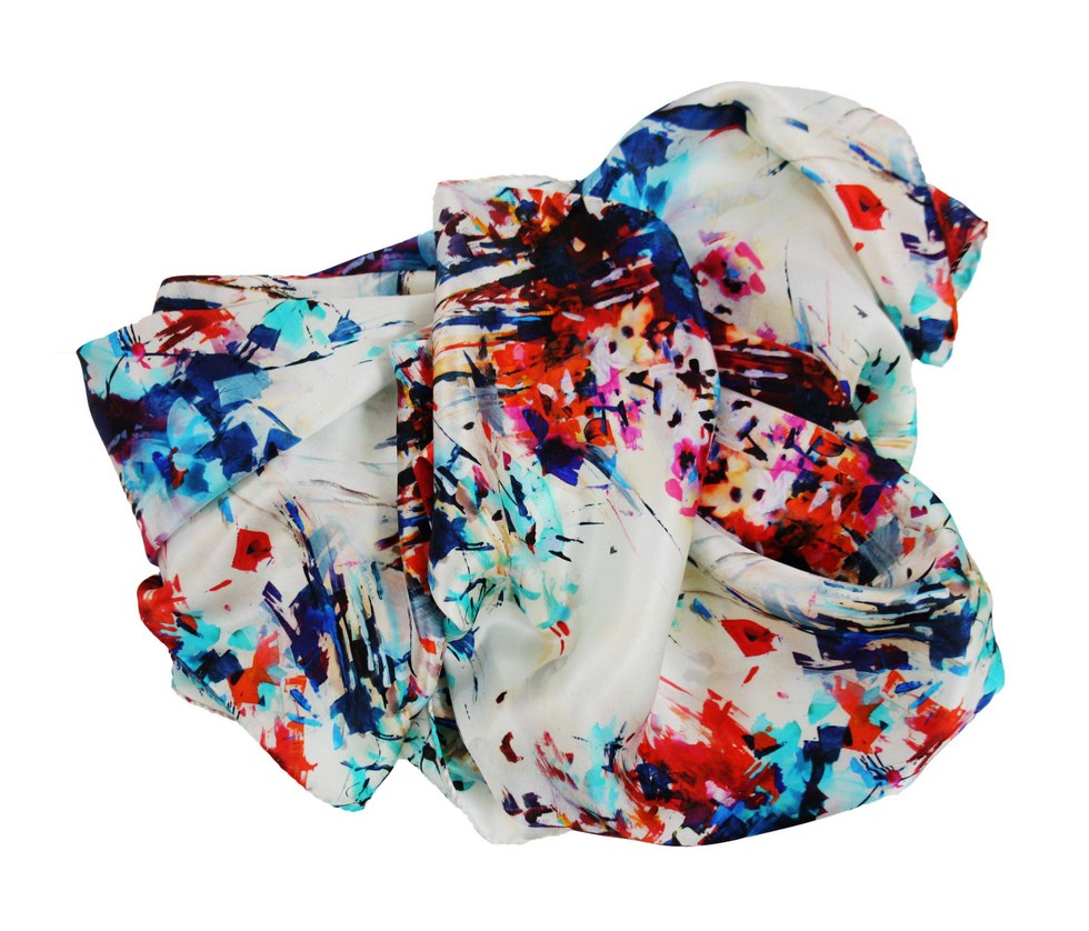 Woman silk scarf bouquet of spring flowers