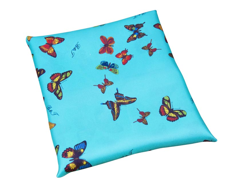 Water green silk woman handkerchief - fancy butterflies