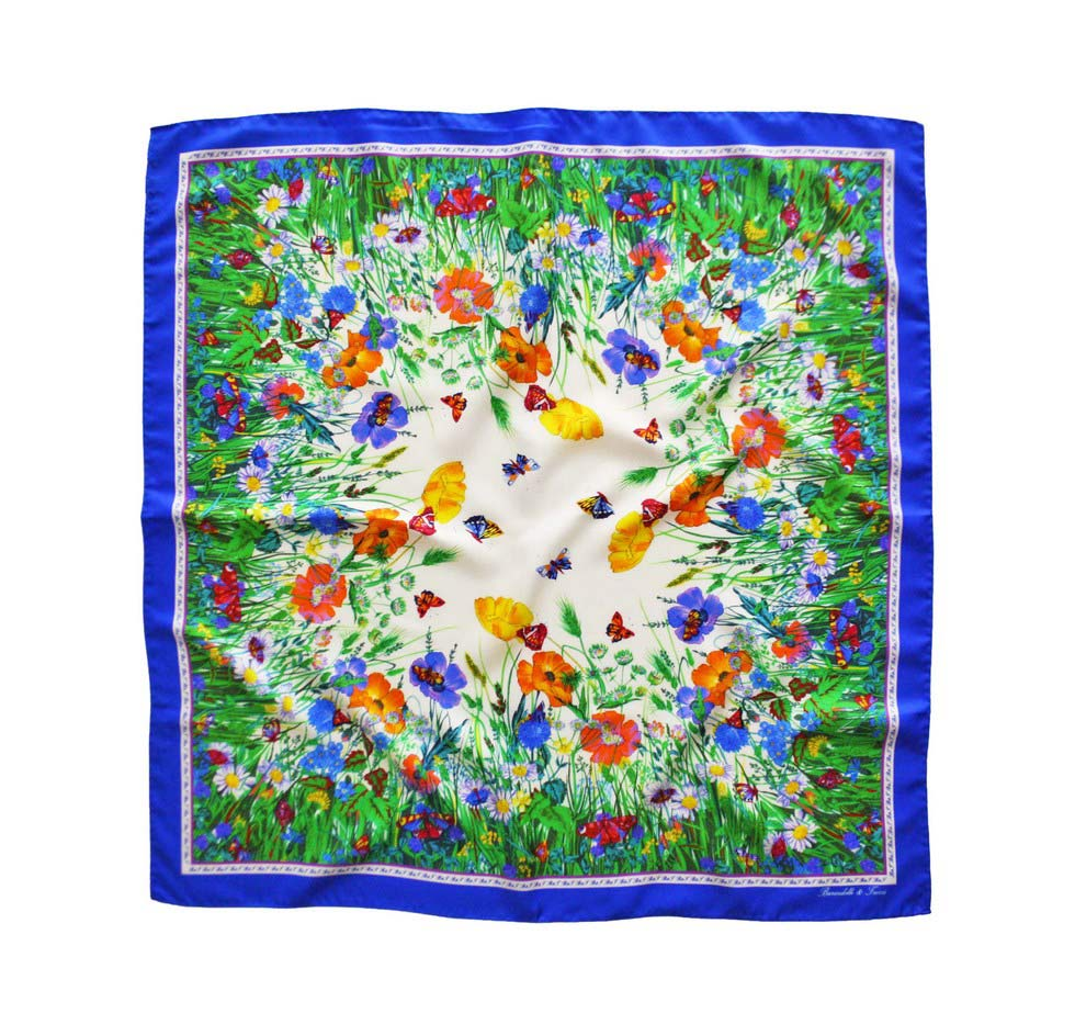 Foulard flowers and butterflies with blue border china