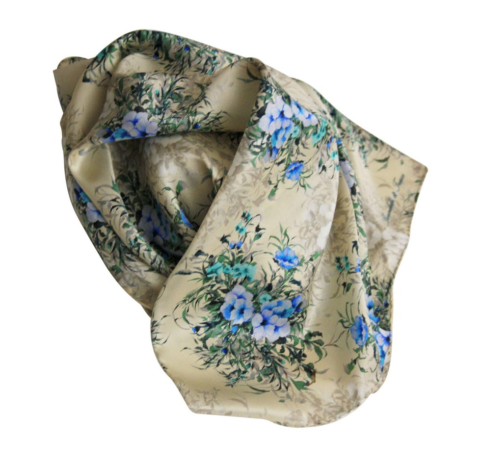 Silk scarf with floral print - violet blue