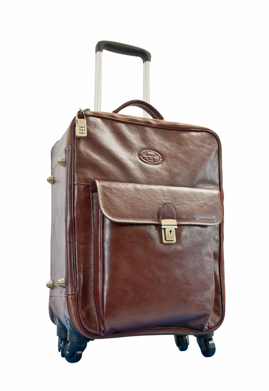 Trolley bag brown leather