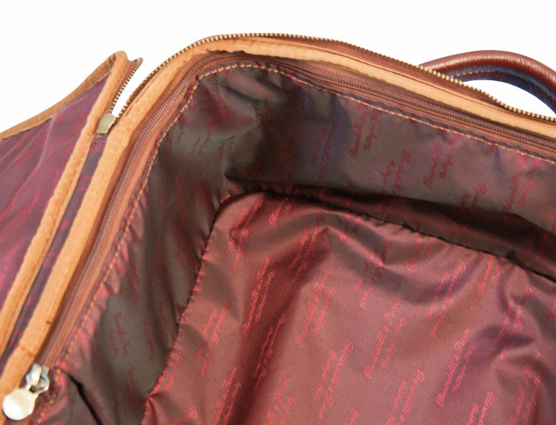 Burgundy and leather fabric trolley