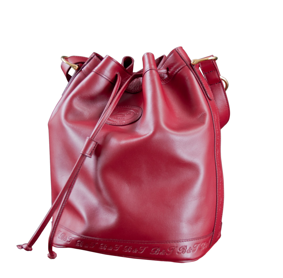 Leather Bucket Bag - Bordeaux