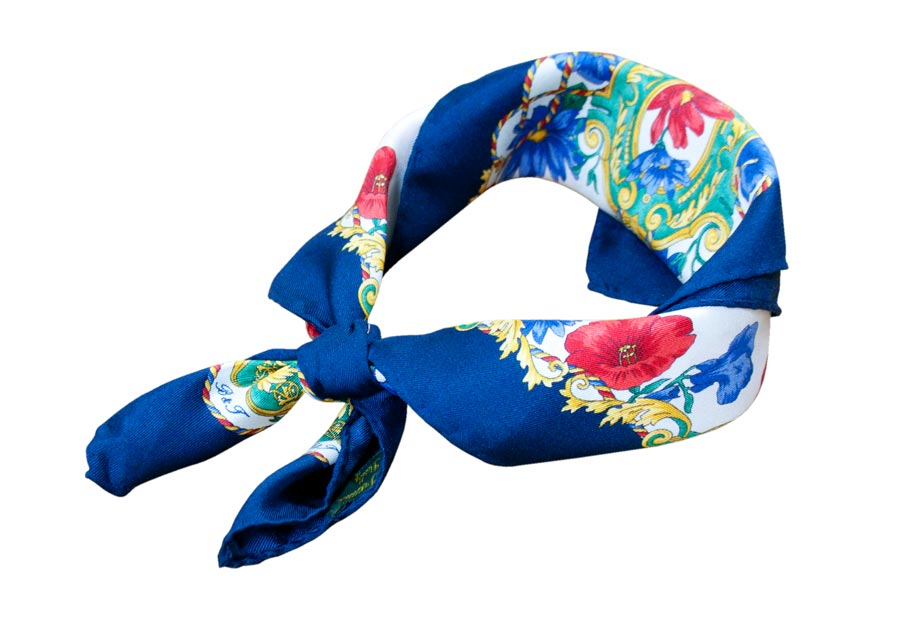 Floral silk handkerchief and navy border